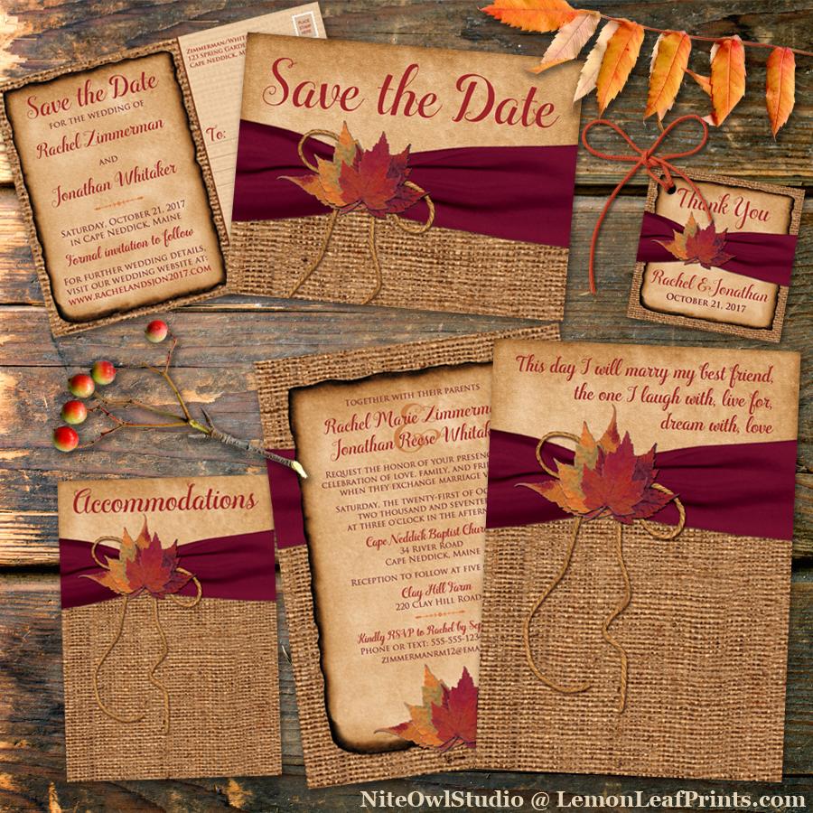 burlap leaves rustic fall wedding invitation set  niteowl