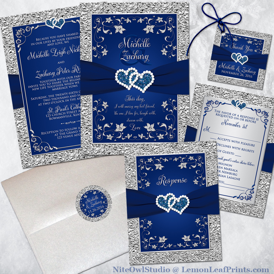 Navy Blue And Silver Wedding Invitation Set Joined Hearts Jewel