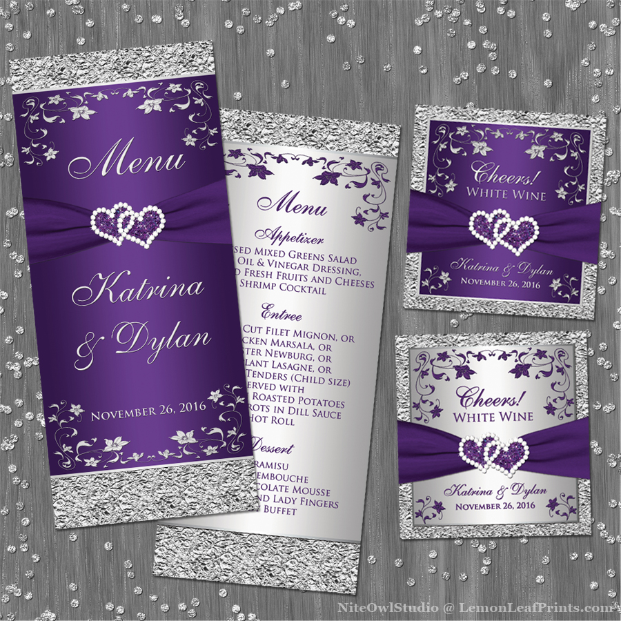 Purple Silver Wedding Invitation Set | Joined Hearts Jewel ...