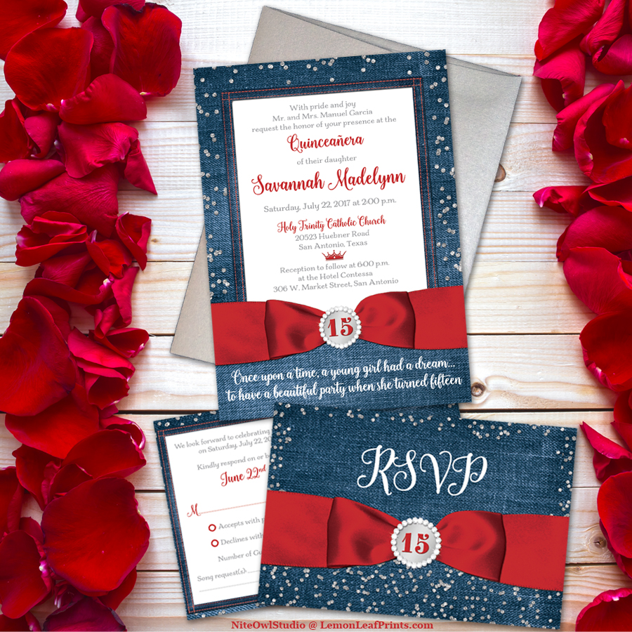 Red Denim and Diamonds Quinceañera Invitation - NiteOwl Studio\'s ...