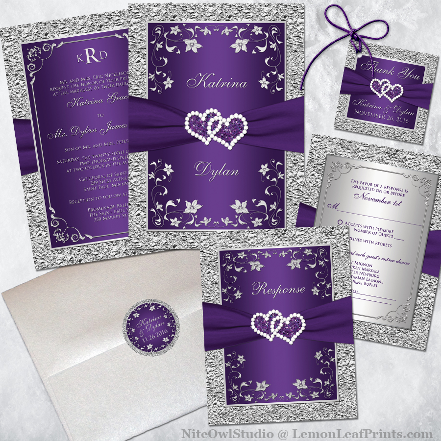 Purple And Silver Wedding Invitations 002 - Purple And Silver Wedding Invitations