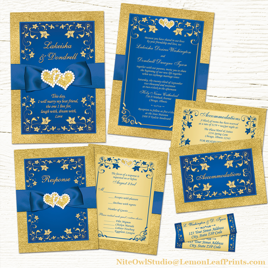 Blue And Gold Wedding Invitations 024 - Blue And Gold Wedding Invitations