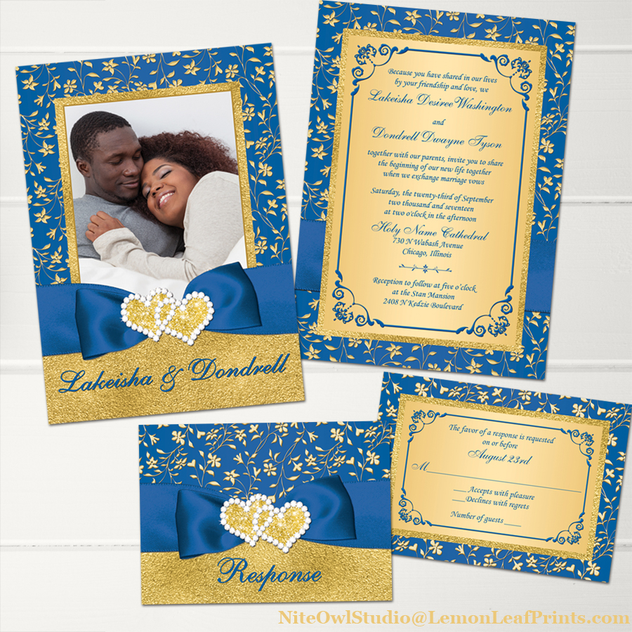 Gold And Blue Wedding Invitations: Royal Blue Gold Joined Hearts Jewel Wedding Invitation Set