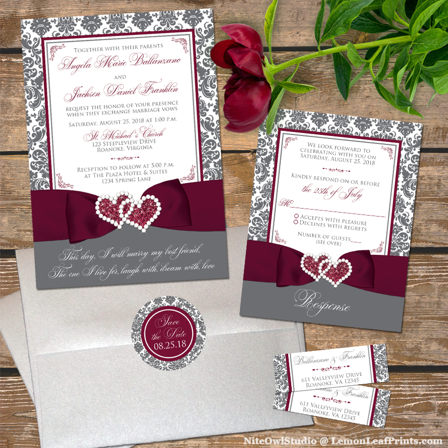 Burgundy Wine And Charcoal Gray Wedding Invitation Suite