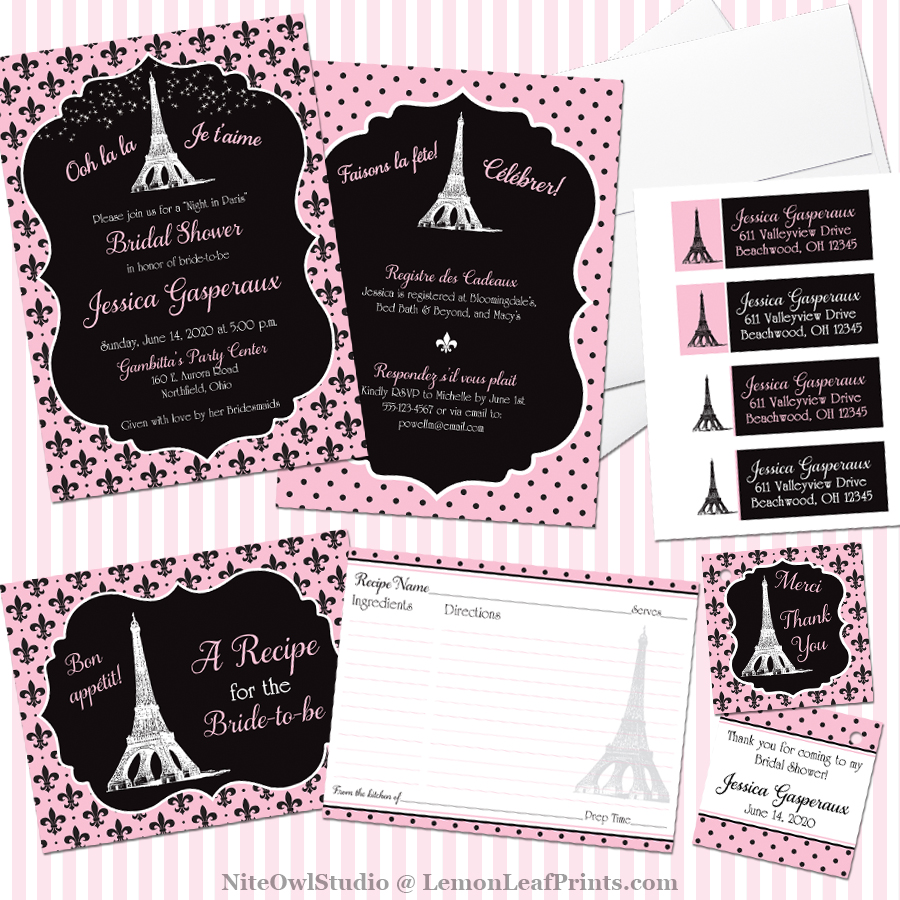 a paris themed bridal shower invitation suite niteowl studios stationery blog